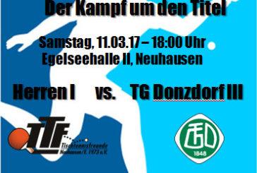 TTF Vorschau: Herren I vs. Donzdorf III – Bezirksliga-Topspiel