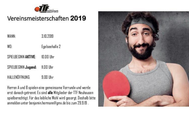 TTF Vereinsmeisterschaften 2019 am 3.10.2019